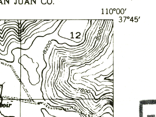 Reduced fragment of topographic map en--usgs--024k--044700--(1954)--N037-45-00_W110-07-30--N037-37-30_W110-00-00
