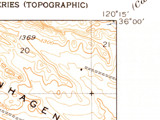 Reduced fragment of topographic map en--usgs--024k--044707--(1950)--N036-00-00_W120-22-30--N035-52-30_W120-15-00