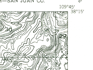 Reduced fragment of topographic map en--usgs--024k--044746--(1955)--N038-15-00_W109-52-30--N038-07-30_W109-45-00