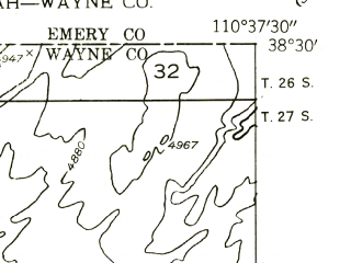 Reduced fragment of topographic map en--usgs--024k--044762--(1954)--N038-30-00_W110-45-00--N038-22-30_W110-37-30