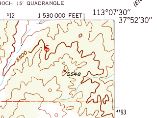 Reduced fragment of topographic map en--usgs--024k--044803--(1950)--N037-52-30_W113-15-00--N037-45-00_W113-07-30