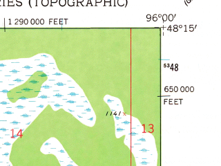 Reduced fragment of topographic map en--usgs--024k--044842--(1961)--N048-15-00_W096-07-30--N048-07-30_W096-00-00