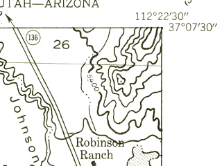 Reduced fragment of topographic map en--usgs--024k--044913--(1954)--N037-07-30_W112-30-00--N037-00-00_W112-22-30