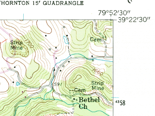 Reduced fragment of topographic map en--usgs--024k--044949--(1958)--N039-22-30_W080-00-00--N039-15-00_W079-52-30