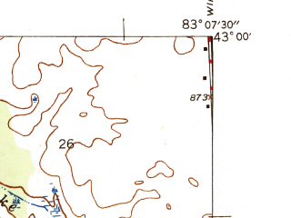 Reduced fragment of topographic map en--usgs--024k--044961--(1945)--N043-00-00_W083-15-00--N042-52-30_W083-07-30