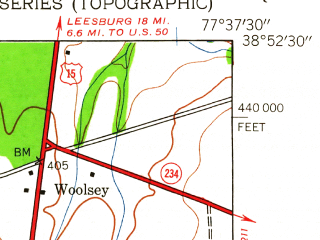 Reduced fragment of topographic map en--usgs--024k--044967--(1943)--N038-52-30_W077-45-00--N038-45-00_W077-37-30; towns and cities Haymarket