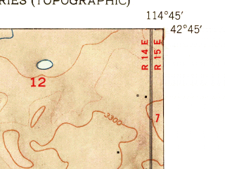 Reduced fragment of topographic map en--usgs--024k--044979--(1954)--N042-45-00_W114-52-30--N042-37-30_W114-45-00