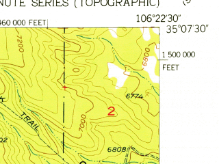 Reduced fragment of topographic map en--usgs--024k--045109--(1954)--N035-07-30_W106-30-00--N035-00-00_W106-22-30; towns and cities Tijeras