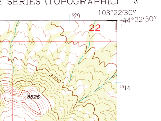 Reduced fragment of topographic map en--usgs--024k--045119--(1953)--N044-22-30_W103-30-00--N044-15-00_W103-22-30