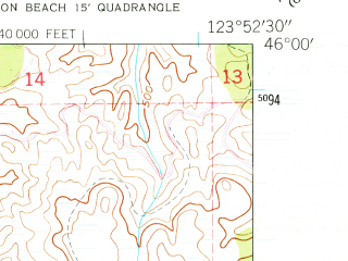 Reduced fragment of topographic map en--usgs--024k--045123--(1949)--N046-00-00_W124-00-00--N045-52-30_W123-52-30; towns and cities Seaside, Cannon Beach