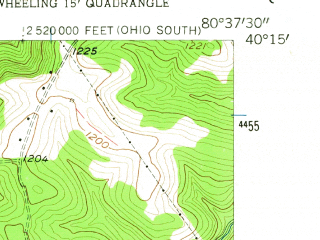 Reduced fragment of topographic map en--usgs--024k--045132--(1957)--N040-15-00_W080-45-00--N040-07-30_W080-37-30; towns and cities Yorkville, Beech Bottom, Clearview