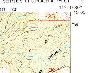 Reduced fragment of topographic map en--usgs--024k--045208--(1954)--N040-00-00_W112-15-00--N039-52-30_W112-07-30