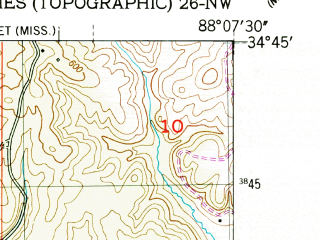 Reduced fragment of topographic map en--usgs--024k--045252--(1950)--N034-45-00_W088-15-00--N034-37-30_W088-07-30; towns and cities Tishomingo