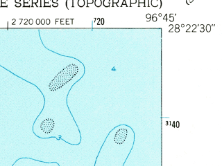 Reduced fragment of topographic map en--usgs--024k--045262--(1952)--N028-22-30_W096-52-30--N028-15-00_W096-45-00