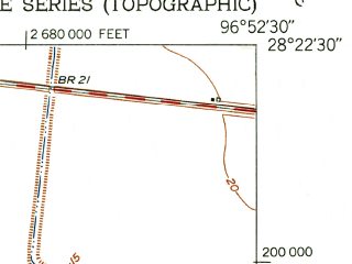 Reduced fragment of topographic map en--usgs--024k--045263--(1952)--N028-22-30_W097-00-00--N028-15-00_W096-52-30