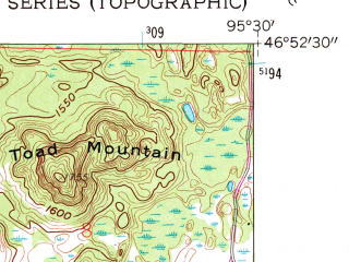 Reduced fragment of topographic map en--usgs--024k--045264--(1959)--N046-52-30_W095-37-30--N046-45-00_W095-30-00