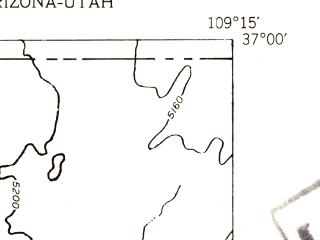 Reduced fragment of topographic map en--usgs--024k--045300--(1953)--N037-00-00_W109-22-30--N036-52-30_W109-15-00