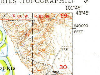Reduced fragment of topographic map en--usgs--024k--045338--(1948)--N048-45-00_W101-52-30--N048-37-30_W101-45-00; towns and cities Tolley