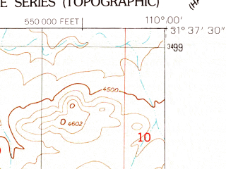 Reduced fragment of topographic map en--usgs--024k--045366--(1952)--N031-37-30_W110-07-30--N031-30-00_W110-00-00