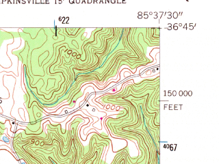 Reduced fragment of topographic map en--usgs--024k--045373--(1954)--N036-45-00_W085-45-00--N036-37-30_W085-37-30; towns and cities Tompkinsville