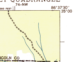 Reduced fragment of topographic map en--usgs--024k--045384--(1936)--N035-00-00_W086-45-00--N034-52-30_W086-37-30