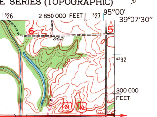 Reduced fragment of topographic map en--usgs--024k--045386--(1951)--N039-07-30_W095-07-30--N039-00-00_W095-00-00; towns and cities Linwood, Tonganoxie