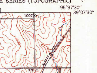 Reduced fragment of topographic map en--usgs--024k--045422--(1951)--N039-07-30_W095-45-00--N039-00-00_W095-37-30; towns and cities Topeka