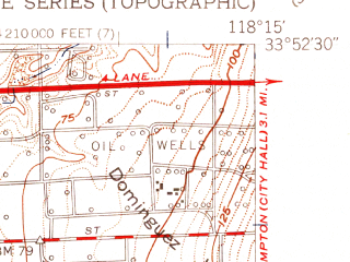 Reduced fragment of topographic map en--usgs--024k--045450--(1951)--N033-52-30_W118-22-30--N033-45-00_W118-15-00 in area of Harbor Lake; towns and cities Torrance, Carson, Rancho Palos Verdes, West Carson, Lomita