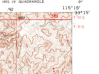 Reduced fragment of topographic map en--usgs--024k--045461--(1955)--N033-15-00_W115-22-30--N033-07-30_W115-15-00