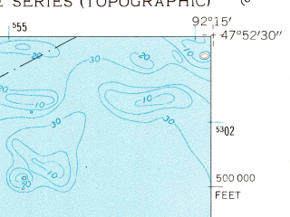 Reduced fragment of topographic map en--usgs--024k--045480--(1956)--N047-52-30_W092-22-30--N047-45-00_W092-15-00; towns and cities Tower