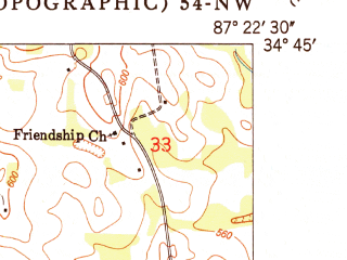 Reduced fragment of topographic map en--usgs--024k--045494--(1950)--N034-45-00_W087-30-00--N034-37-30_W087-22-30; towns and cities Town Creek
