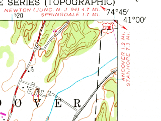 Reduced fragment of topographic map en--usgs--024k--045557--(1954)--N041-00-00_W074-52-30--N040-52-30_W074-45-00; towns and cities Allamuchy-panther Valley