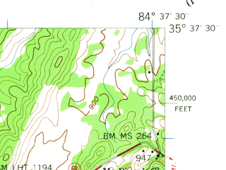 Reduced fragment of topographic map en--usgs--024k--045558--(1941)--N035-37-30_W084-45-00--N035-30-00_W084-37-30