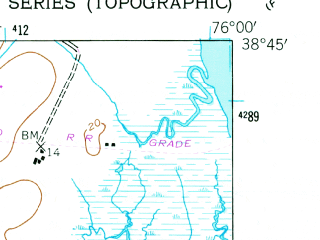 Reduced fragment of topographic map en--usgs--024k--045565--(1942)--N038-45-00_W076-07-30--N038-37-30_W076-00-00; towns and cities Trappe