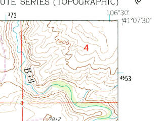 Reduced fragment of topographic map en--usgs--024k--045609--(1961)--N041-07-30_W106-37-30--N041-00-00_W106-30-00