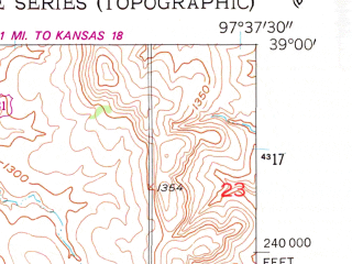 Reduced fragment of topographic map en--usgs--024k--045617--(1955)--N039-00-00_W097-45-00--N038-52-30_W097-37-30