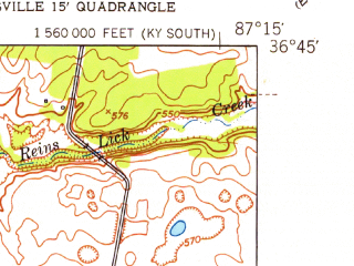 Reduced fragment of topographic map en--usgs--024k--045620--(1951)--N036-45-00_W087-22-30--N036-37-30_W087-15-00; towns and cities Trenton