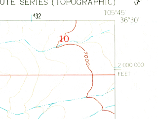 Reduced fragment of topographic map en--usgs--024k--045638--(1961)--N036-30-00_W105-52-30--N036-22-30_W105-45-00