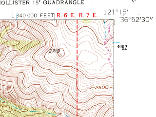 Reduced fragment of topographic map en--usgs--024k--045641--(1955)--N036-52-30_W121-22-30--N036-45-00_W121-15-00