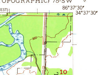 Reduced fragment of topographic map en--usgs--024k--045649--(1948)--N034-37-30_W086-45-00--N034-30-00_W086-37-30; towns and cities Triana