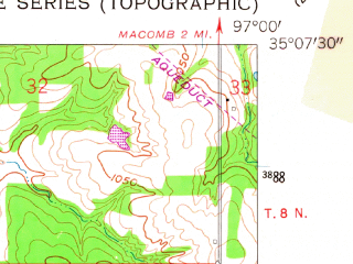 Reduced fragment of topographic map en--usgs--024k--045658--(1958)--N035-07-30_W097-07-30--N035-00-00_W097-00-00; towns and cities Tribbey