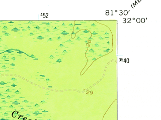 Reduced fragment of topographic map en--usgs--024k--045684--(1958)--N032-00-00_W081-37-30--N031-52-30_W081-30-00