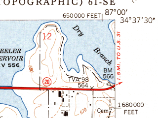 Reduced fragment of topographic map en--usgs--024k--045686--(1950)--N034-37-30_W087-07-30--N034-30-00_W087-00-00; towns and cities Trinity