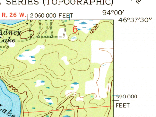 Reduced fragment of topographic map en--usgs--024k--045721--(1959)--N046-37-30_W094-07-30--N046-30-00_W094-00-00 in area of Mission Lakes; towns and cities Trommald
