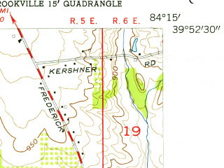 Reduced fragment of topographic map en--usgs--024k--045729--(1955)--N039-52-30_W084-22-30--N039-45-00_W084-15-00; towns and cities Englewood, Northview, Fort Mckinley, Trotwood, Clayton