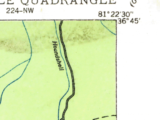 Reduced fragment of topographic map en--usgs--024k--045747--(1935)--N036-45-00_W081-30-00--N036-37-30_W081-22-30; towns and cities Troutdale