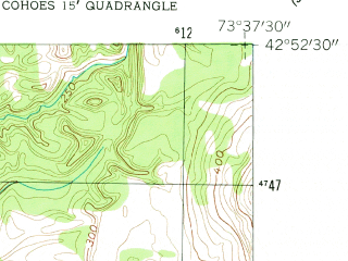 Reduced fragment of topographic map en--usgs--024k--045774--(1954)--N042-52-30_W073-45-00--N042-45-00_W073-37-30; towns and cities Cohoes, Waterford