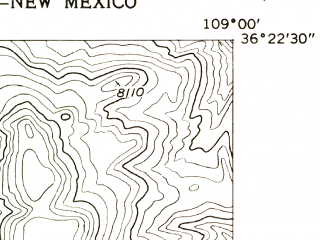 Reduced fragment of topographic map en--usgs--024k--045814--(1955)--N036-22-30_W109-07-30--N036-15-00_W109-00-00