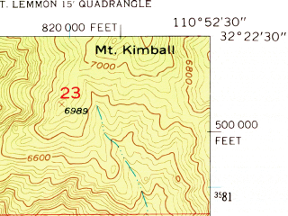 Reduced fragment of topographic map en--usgs--024k--045850--(1957)--N032-22-30_W111-00-00--N032-15-00_W110-52-30