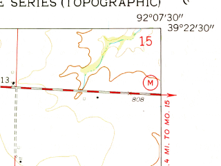 Reduced fragment of topographic map en--usgs--024k--045895--(1958)--N039-22-30_W092-15-00--N039-15-00_W092-07-30